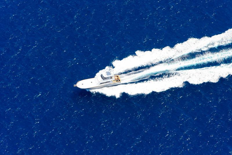 aerial of boat on ocean
